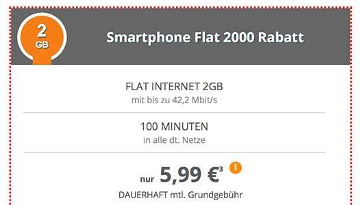 Klarmobil Smartphone Flat 2000 für 5,99€
