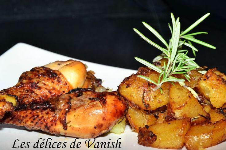 Poulet miel - romarin et pommes de terre fondantes (actifry)