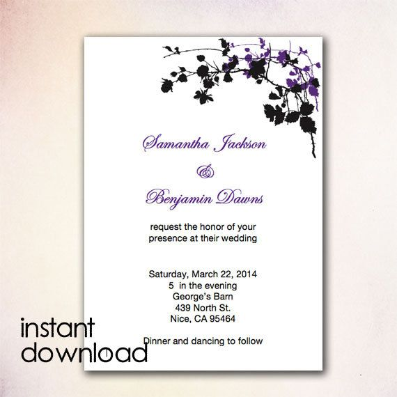 24 best DIY Wedding Invitation Templates - Instant Download images - how to make invitations with microsoft word