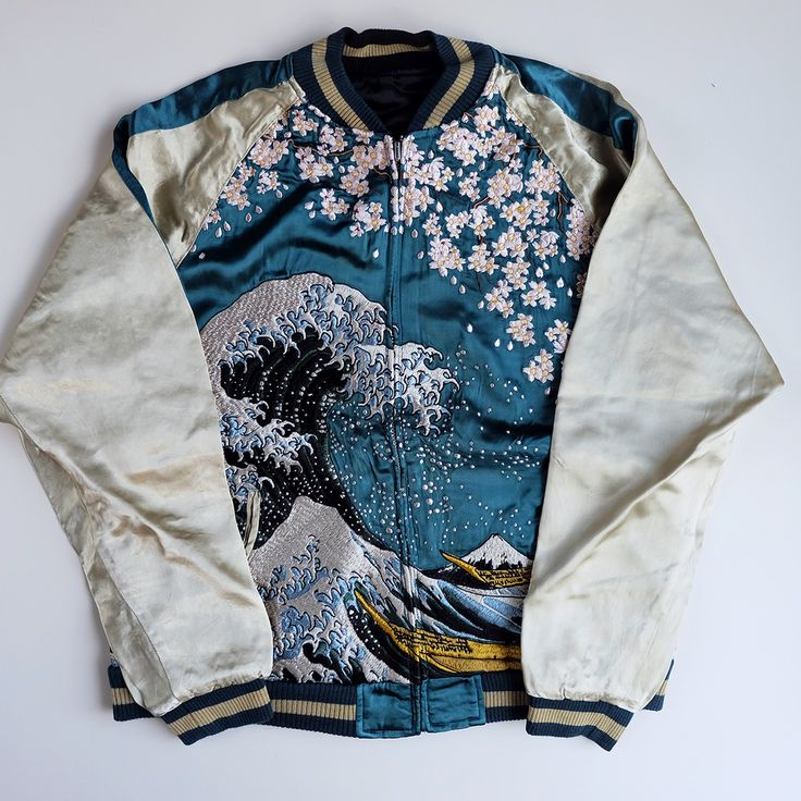 Japanese HYAKKA RYORAN Classic Katsushika Hokusai Wave Nami Woodblock Print Sakura Cherry Blossoms Mt. Fuji Fujisan Bomber Jacket - Japan Lover Me Store