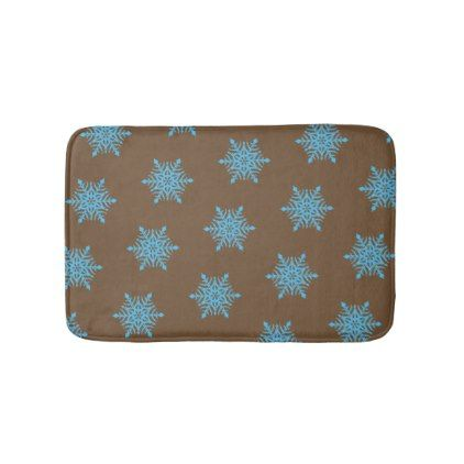 Blue Snow Flakes Brown Small Bath Mat - home gifts ideas decor special unique custom individual customized individualized