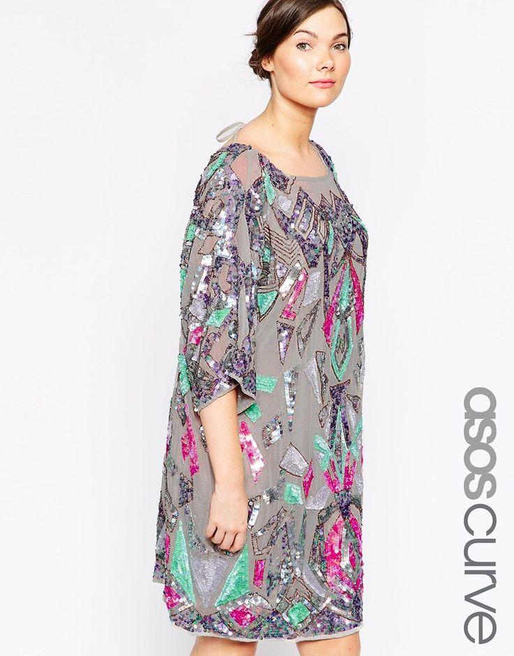 ASOS CURVE Geo-Tribal Embellished Dress In Iridescent Sequin