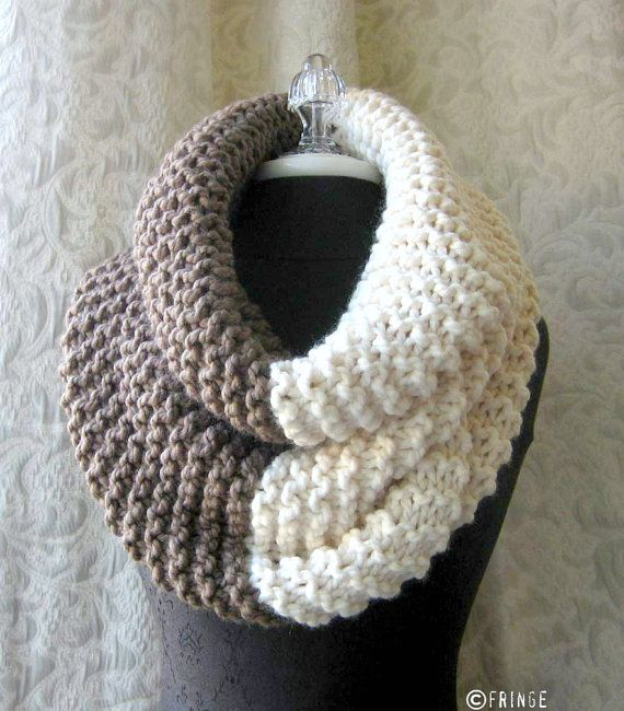 El Grande Cowl  Chunky Knit Cowl  Oversized  Taupe and by fringe