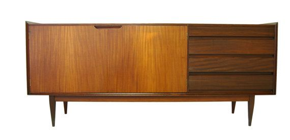 Large Mid Century Credenza or Media Console with contrasting