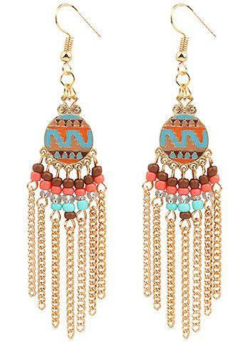 """Oorbellen goudkleurige hangers in """"Ibiza style"""" met gekleurde kralen en tassels - Goedkope sieraden bestellen   De goedkoopste bijoux sieraden van Nederland  """