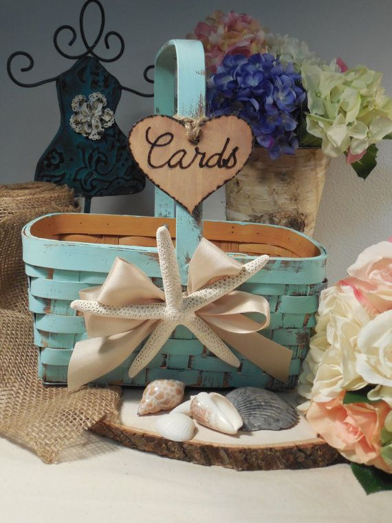Rustic Shabby Chic Wedding Card  Basket or by AngisSouthernChic, $24.95  Or, you can even paint a basket, add a bow with wooden sign to make your own. :)