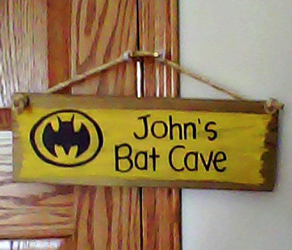 BATMAN Reclaimed Hand Painted Sign Boys Kids Marvel Comics Superhero Logo Custom BAT CAVE Personalized Room Bedroom Wall Plaque Decor on Etsy, $18.50