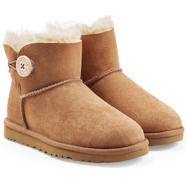 UGG Australia Mini Bailey Button Suede Boots ($165) ❤ liked on Polyvore featuring shoes, boots, brown, ugg australia, brown suede shoes, brown shoes, ankle length boots and round cap