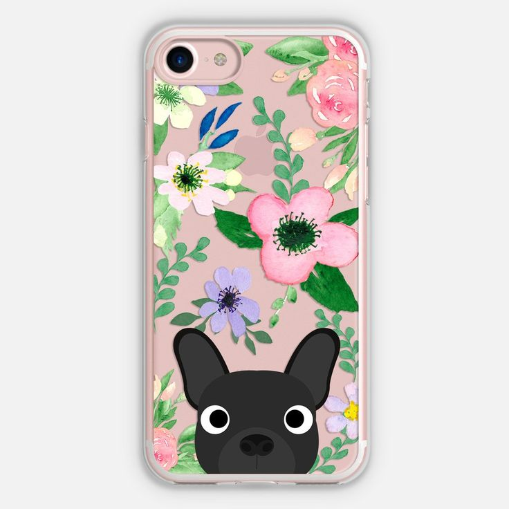 Frenchie (Black) Floral Phone Case