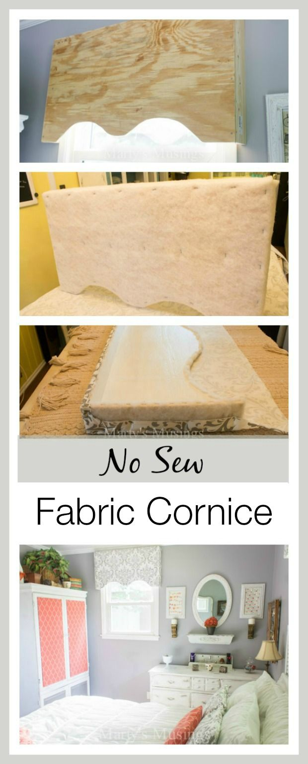 This thorough and easy to follow step by step tutorial focuses on making a DIY no sew fabric cornice as an option for decorating your home on a budget. Marty's Musings proves you don't need to sew to have a beautiful home and this bedroom proves it!