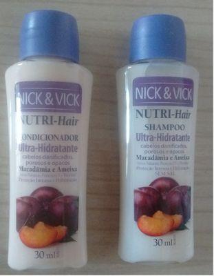 Maquiagem de óculos: Amostras: shampoo e condicionador Macadâmia e Amei...