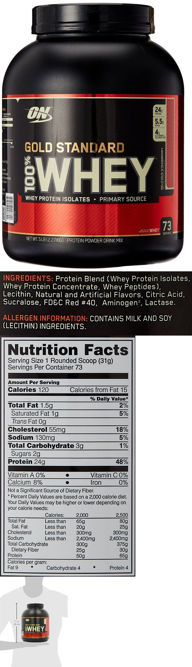 Protein Shakes and Bodybuilding: Optimum Nutrition Gold Standard 100% Whey Protein, Delicious Strawberry 73 Serv -> BUY IT NOW ONLY: $48.98 on eBay!