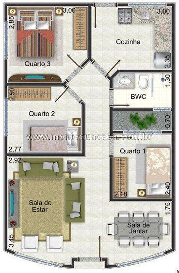 Gostei ...mas eu trocaria a cozinha e o quarto de lugar.... Com a cozinha no lugar do quarto daria para fazer um espaço aberto.