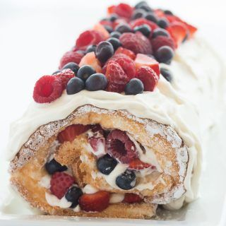 Berry Angel Food Cake Roll (red, white and blue dessert)
