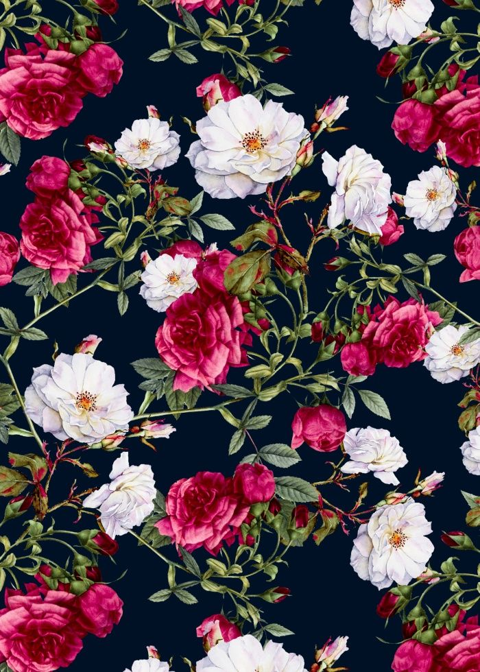 Brigitte Black Floral Wallpaper   Departments   DIY at B&Q ...   Black Floral Vintage Pattern