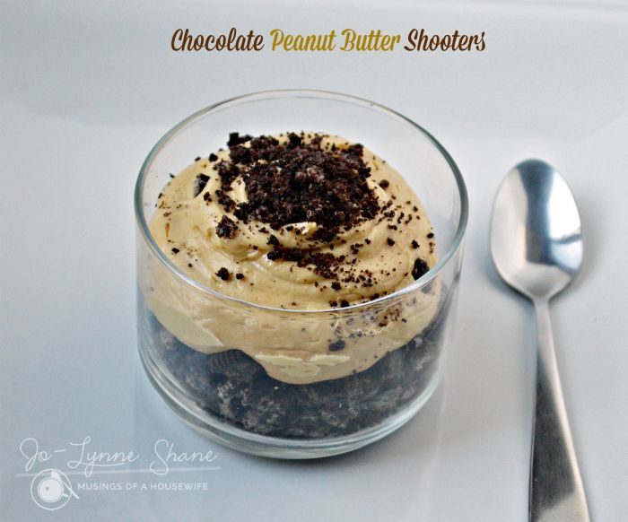 These chocolate peanut butter shooters are the perfect small dessert to satisfy your sweet tooth without leaving you too full.