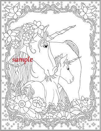 Unicorn Family PDF Single Colour Cross Stitch Chart