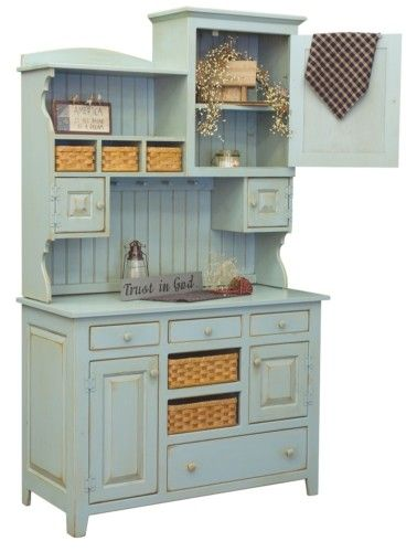 Amish Kitchen Lizzie Hutch Pantry Cupboard Wood Country Pine Primitive Furniture