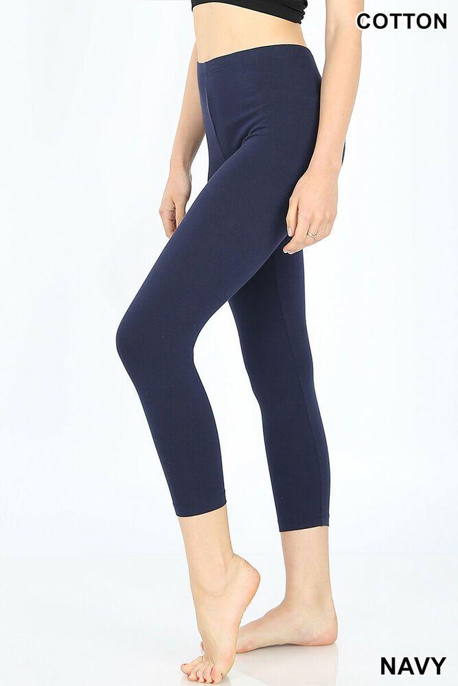 New Womens Plain 3//4 Length Leggings Workout Gym Cropped Yoga Active Capri Pants