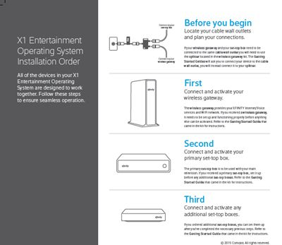 X1 Self Installation Kit: Diagram of X1 Entertainment Operating System Installation Order.