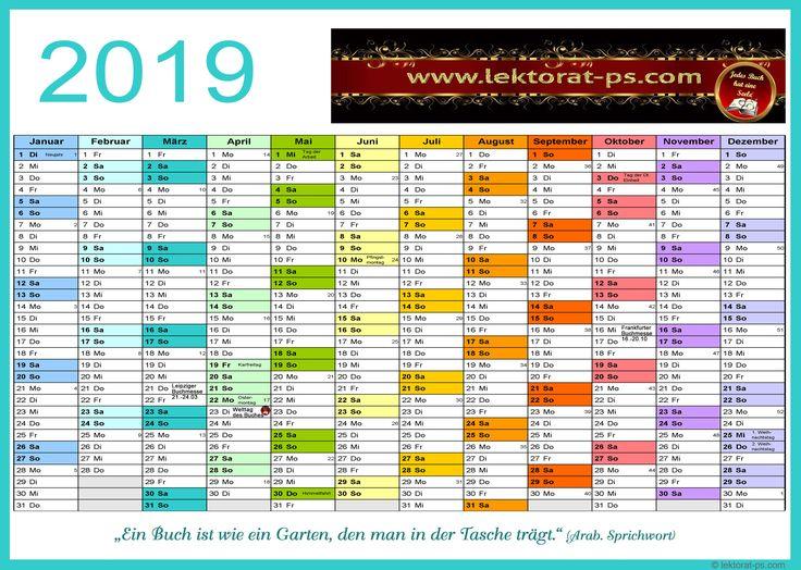 Lektorat, Kalender 2019, Jahresplaner 2019, kostenloser ...