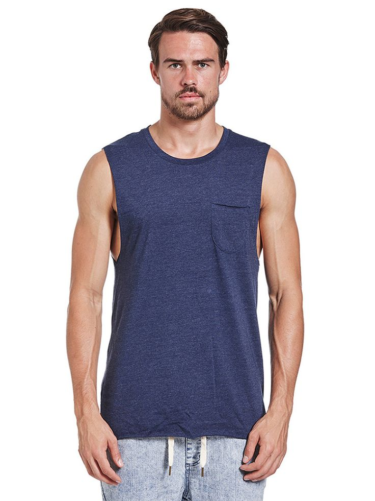 The Academy Brand - Fader Navy Muscle Tee