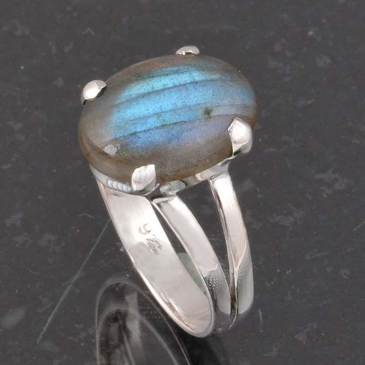 BLUE FIRE LABRADORITE 925 SOLID STERLING SILVER FASHION RING 3.21g DJR6402 #Handmade #Ring