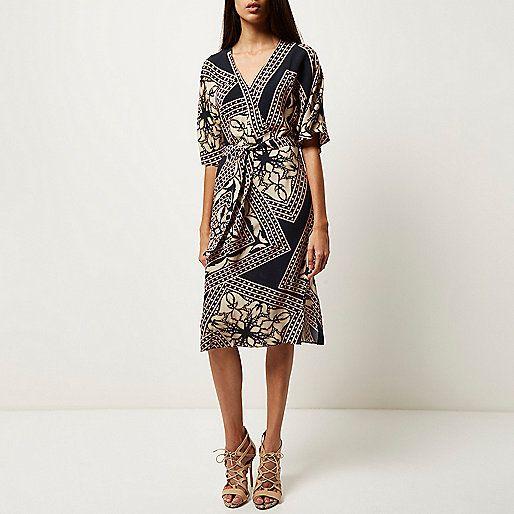 Blauwe jurk met print en kimonomouwen - dagelijkse/t-shirtjurken - jurken - dames