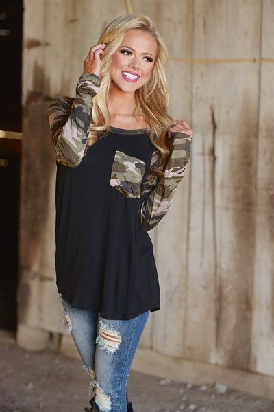 At Attention Camo Raglan Top - Black from Closet Candy Boutique #fashion #ootd
