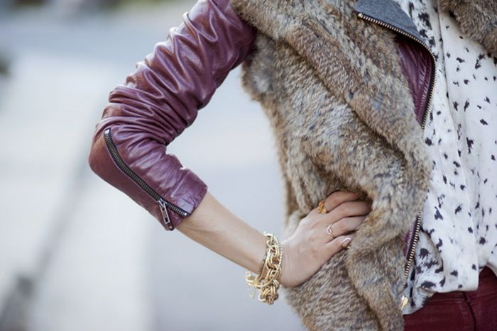 Plum Leather and Fur