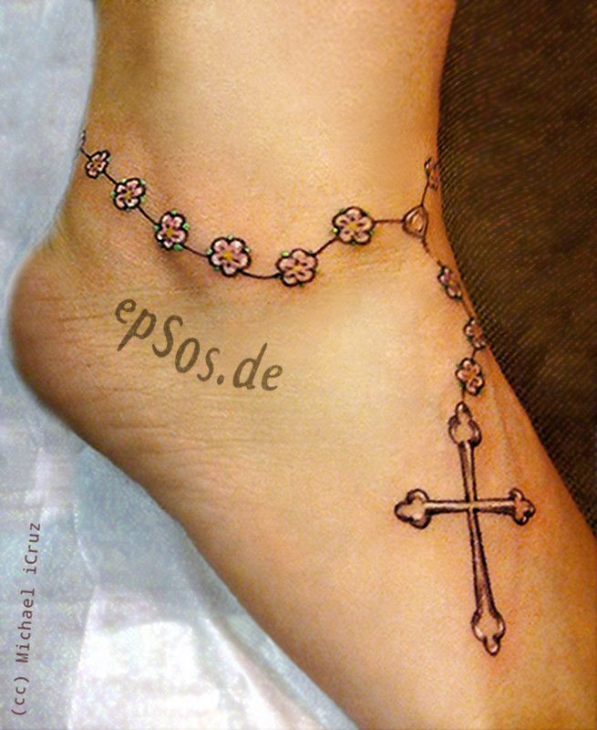 Cute Little Cross Tattoos On Foot | 1887Tattoos: Small Tattoo Designs For Women
