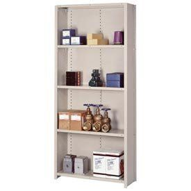 "Closed Shelving Starter, 5 Traditional Shelves, 36""Wx18""Dx84""H Putty by LYON WORKSPACE PRODUCTS. $254.95. Lyon Closed Shelving Starter, 5 Traditional Shelves, 36""Wx18""Dx84""H Putty Sturdy construction and easy installation make offset angle shelving ideal for applications calling for stand-alone sectionsThirteen-gauge uprights, with medium gauge on 36"" Box W shelves and heavy gauge on 48"" Box W shelves, deliver capacities up to 600 lbs per shelfOpen sections are great for cart..."