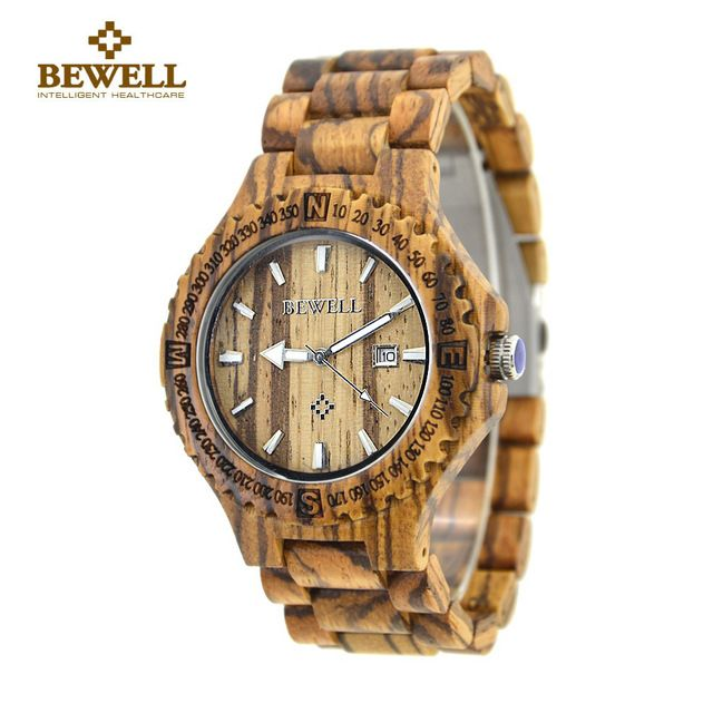 BEWELL Wood Watch For Men Fashion Simple Quartz Movement Calendar Sandalwood Wristwatches Relogio Masculino With paper box 023A