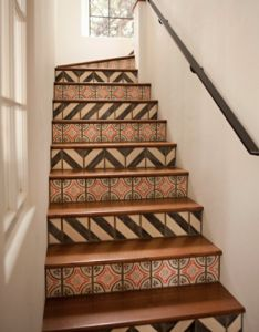 Tiled stair risers. Everything about this is so perfect.