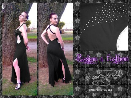 Spandex fitted dress with slit on each leg. 2 side tummy holes. Crossed back strap. Silver detail.