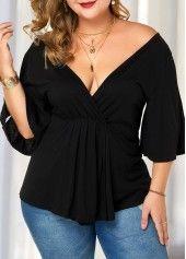 Plus Size Slit Sleeve V Back Blouse | liligal.com - USD $26.28 5