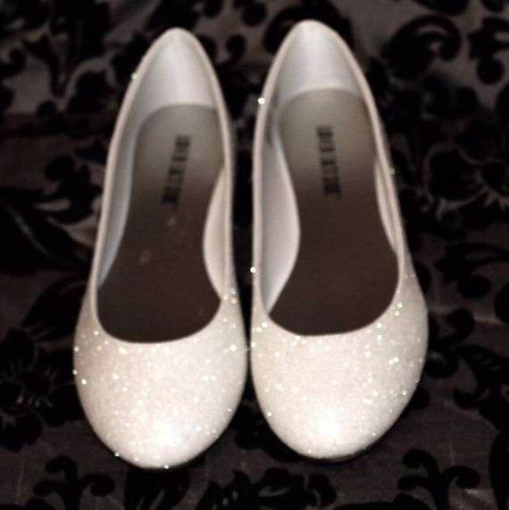 White Glitter Bridal Shoes Wedding Flats by AshleyBrooksDesigns