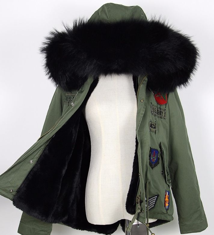 Bimmi Black Fur Patchwork Parka