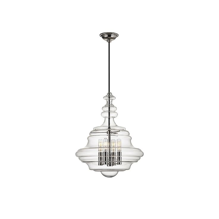 the washington small pendant comes in a polished nickel finish and a clear shade this pendant is made of metal material and a glass shade
