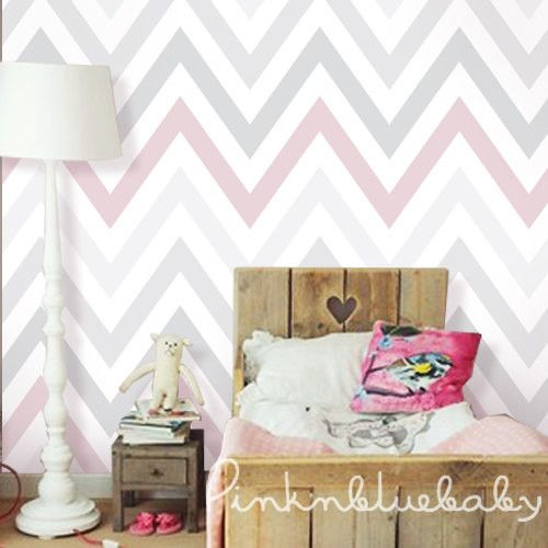 Get Free Shipping Learn more - DESCRIPTION - SPECS - VIDEO - Chevron Pink | Grey Peel & Stick Fabric WallPaper has adhesive back with repositionable and removable. It also can be re-applied over and o