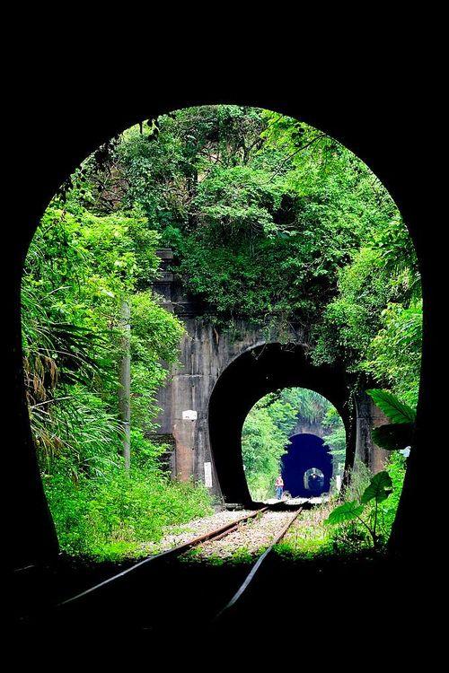 ✮ Triple Railroad Tunnel, Xiapu, China: Railings, Xiapu, China Travel, Beautiful Landscape, China Photos, Places, Railroad Tunnel, Exotic China, Triple Railroad