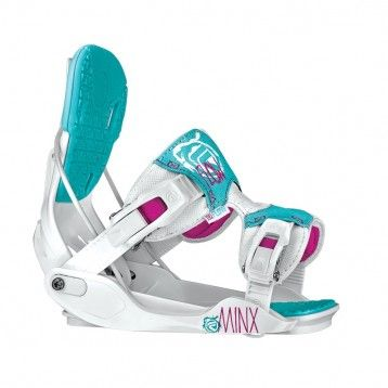 2014 FLOW MINX - WHITE - Women's Snowboard Binding - All-Mountain Freestyle  Snowboard Binding