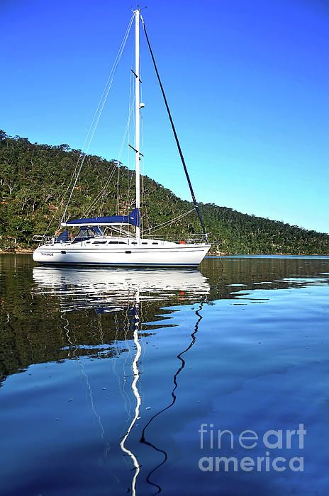 A yacht reflecting on the tranquil water of the Hawkesbury River, Sydney. #Yacht #Reflecting by #Kaye_Menner #Photography Quality Prints Cards Products at: https://kaye-menner.pixels.com/featured/yacht-reflecting-by-kaye-menner-kaye-menner.html