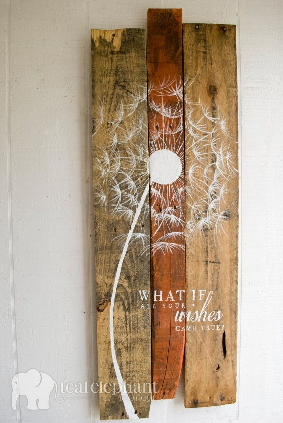 LIMITED TIME! Pallet Art Dandelion Welcome Home Wall Hanging Rustic Shabby Chic - Custom Colors for your decor - NEW Larger Size! on Etsy, $89.99. (This would be a great diy project)