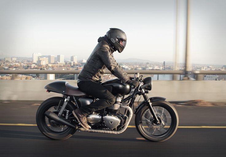 Cafes Racers, Bikes, Cafes Style, Triumph Thruxton, Custom Motorcycles, Triumph Bonneville, Leather Jackets, Triumph Cafe Racer, Cafe Racers