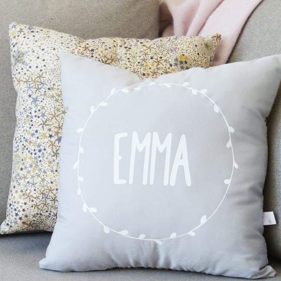 Grey personalised Liberty cushion