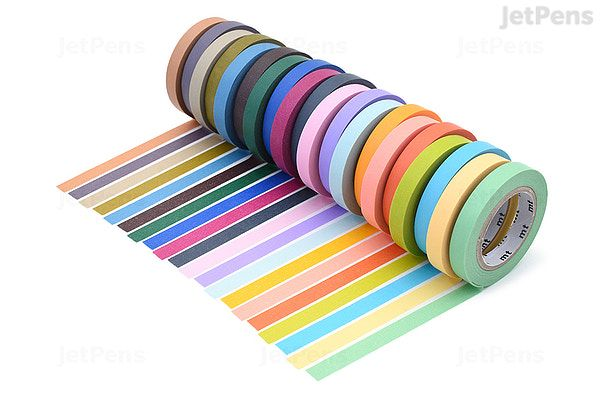 Sample Length Sets Vibrant Colorful Striped Washi Tape 10mm Wide