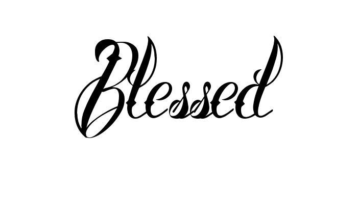 Tatuagem do nome Blessed utilizando o estilo Brother Tattoo