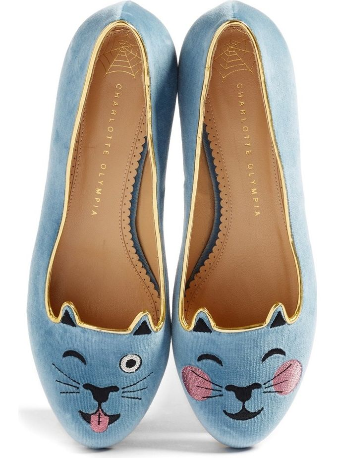 Charlotte Olympia's iconic Kitty flat gets a playful update with a winking face and a smile.