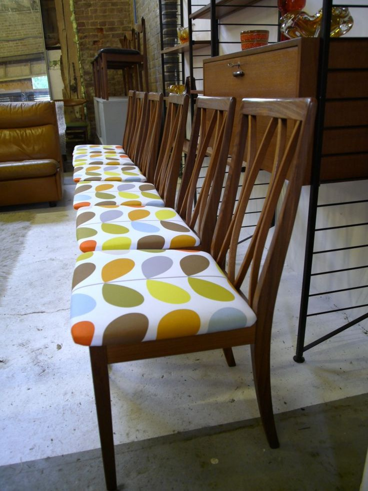 Six Vintage G Plan Chairs in Orla Kiely fabric £295